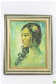 Sale 8626 - Lot 34 - Portrait of a Lady, Acrylic on Board, SLR
