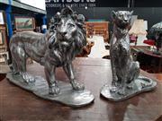 Sale 8717 - Lot 1065 - Silver Coloured Leopard & Lion Figures