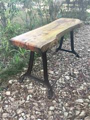 Sale 8772A - Lot 79 - A Solid Timber Slab Table  / Bench Made From Cast Iron Leg And Slab Timber Top General Wear Marks , Size 182 cm L x 88 cm H x 60cm W...