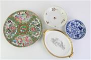Sale 8802 - Lot 236 - C19th Chinese and English Porcelain Plates and Dishes inc Famile Rose Enamel Plate and Small Flight Barr Dish