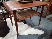 Sale 8908 - Lot 1075 - Teak Side Table with a Rattan Shelf Below by Peter Vidt