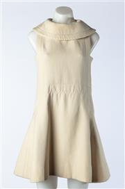 Sale 9003F - Lot 2 - A Vintage Silk A-Line Collared Dress in Beige with Silk Lining and Zip up back S/M (some stains to front and back)