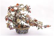 Sale 9015 - Lot 35 - A Cloisonne Jardiniere with Faux Stone Bonsai Tree (H 40cm)