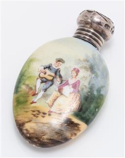 Sale 9190E - Lot 86 - A handpainted ceramic snuff/perfume case with sterling silver lid, Length 6cm