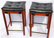Sale 8319 - Lot 12 - 2 retro Parker stools with black vinyl tops