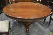 Sale 8335 - Lot 1002 - George IV Mahogany Supper Table, the circular top with beaded border, on triform pedestal and base with concave sides, on scroll fee...