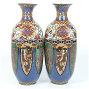 Sale 8412A - Lot 6 - Cloissone Pair of Vases height - 30cm