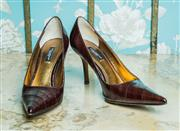 Sale 8420A - Lot 10 - A pair of Dolce & Gabbana pointy toe burgundy leather shoes, size: 6.5, condition: very good