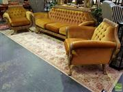 Sale 8545 - Lot 1018 - Gilt Swan Three Piece Lounge Suite incl. Pair of Armchairs & Three Seater