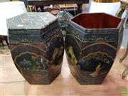 Sale 8589 - Lot 1028 - Pair Chinese Hexagonal Painted Black Cannisters (one cover missing) -