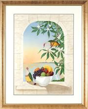 Sale 8811 - Lot 2015 - Anna Garland - Dawn, 4 Mile Beach, Port Douglas, with Rose-Capped Fruit Doves 74 x 55 cm