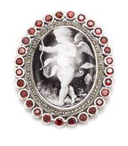 Sale 8899 - Lot 316 - A VICTORIAN STYLE SILVER STONE SET BROOCH; featuring a cherub themed porcelain plaque to a surround of garnets, dim. 46 x 38mm.