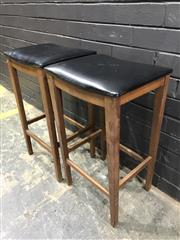 Sale 9002 - Lot 1084 - Pair of Vintage Teak Barstools (h:70 x w:32 x d:32cm)