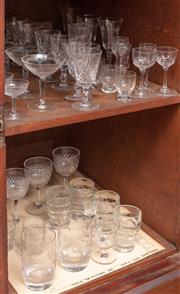 Sale 9058H - Lot 47 - Two shelf lots of assorted glassware mainly liquer glasses