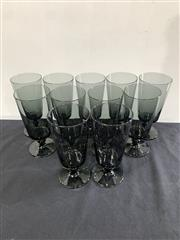 Sale 9092 - Lot 1052 - Vintage suite of 11 smoky Heisey Glassware style plantation ice tea tumblers (h:19cm)