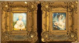 Sale 9211 - Lot 12 - A Pair of Gilt Framed Naive Miniature Portraits (21.5cm x 24cm)