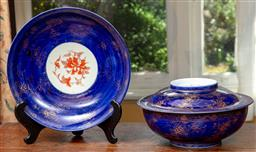 Sale 9120H - Lot 52 - A lidded serving bowl and matching saucer decorated with gilt flowers on blue ground, Diameter of bowl 30cm