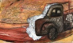 Sale 9252A - Lot 5002 - PETER WRIGHT (1941 - 1999) Rays Truck, Hill End pastel and gouache 54 x 90.5 cm (frame: 90 x 122 x 3 cm) signed lower right