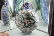 Sale 8340 - Lot 44 - Wucai Dragon Moon Flask Vase