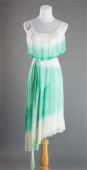 Sale 8493A - Lot 85 - A 100% silk Elissa Coleman sun dress in white and aqua, size S