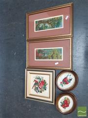 Sale 8552 - Lot 2095 - 5 Framed Tapestries