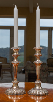 Sale 8677B - Lot 523 - A pair of reproduction old Sheffield plate candlesticks with paper shades, H x 53cm