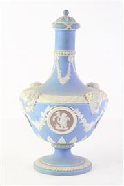 Sale 8810 - Lot 53 - Late C19th Wedgwood Tri Colour Lidded Vase with Cameo Scenes ( Fixed Cover)
