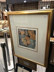 Sale 8856 - Lot 2031 - Susan Cadby Orange Hibiscus  mixed media on paper, 81.5 x 65.5cm (frame), signed