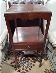 Sale 8939 - Lot 1014 - Georgian Style Mahogany Square Washstand, with shaped apron, a shelf fitted with a drawer & stretcher base. H: 80 W: 34cm