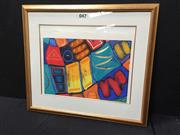 Sale 9053 - Lot 2098 - Simon Ball, Abstract, hand-coloured print (AF), frame: 78 x 88 cm