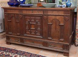 Sale 9120H - Lot 53 - An early English Jacobean style oak coffer with carvings to frieze AF 1670 and single lower drawer, Height 80cm x  Width 142cm x D...