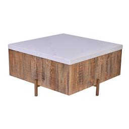 Sale 9180F - Lot 16 - A modern white marble top square coffee table. Brushed  reclaimed timber base on copper metal frame (W 80cm D 80cm H 40cm)