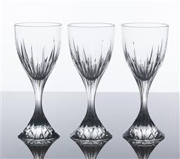 Sale 9255H - Lot 12 - A set of 3 Christofle crystal Cathedrale wine glasses, Height 16.5cm.