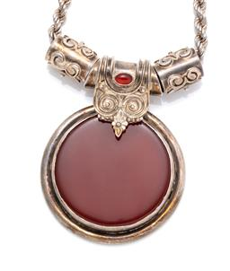 Sale 9246J - Lot 311 - A SILVER STONE SET PENDANT NECKLACE; pendant collet set with a carnelian disc to wire and bead work bale set with an oval cabochon c...