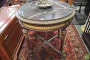 Sale 8317 - Lot 1018 - Fine Louis XVI Style Carved Marble Top Table, with gilt guilloche bands, turned fluted legs & stretchers