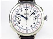 Sale 8402W - Lot 4 - LOBNER GERMAN MILITARY CHRONOGRAPH WRISTWATCH; single button chronograph with white dial Arabic numerals, tachymeter, 2 subsidiary d...