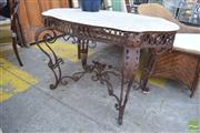 Sale 8390 - Lot 1371 - Marble Top Garden Table