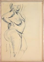 Sale 8401 - Lot 570 - Margaret Olley (1923 - 2011) - Standing Nude 58.5 x 40.5cm