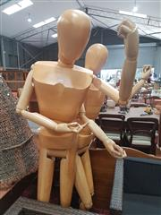 Sale 8676 - Lot 1360 - A Full Sized Timber Artists Mannequin