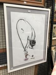 Sale 8730 - Lot 2066 - Gowen Rudder - Ballerina, charcoal and collage (AF), 70.5 x 53.5cm (frame size), signed and dated lower right