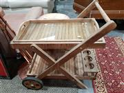 Sale 8740 - Lot 1059 - Tiered Rustic Timber Serving Trolley with Glass Shelf Butlers Tray