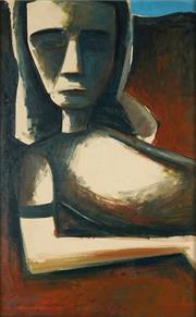 Sale 8870A - Lot 553 - Charles Blackman (1928 - 2018) - Portrait of Barbara, 1955 69.5 x 43 cm