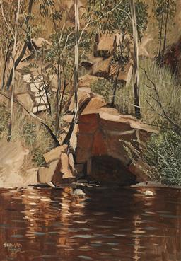 Sale 9125 - Lot 559 - Herman Pekel (1956 - ) Waterhole oil on board 67.5 x 44 cm (frame: 79 x 56 x 2 cm) signed lower left