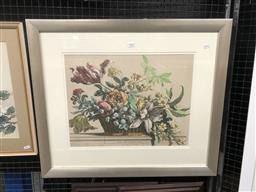 Sale 9147 - Lot 2022 - NICOLAS DE POILLY - Basket of Flowers, After Jean Baptiste Monnoyer 36 x 47 cm (frame: 61 x 71 x 3 cm)