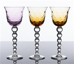 Sale 9255H - Lot 4 - A set of 3 Saint Louis Bubbles, by Terri Ann Jones, 1992, goblets to include 2 amber and 1 amethyst. Height 22cm each RRP $450