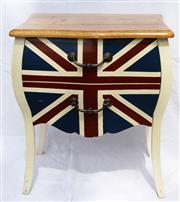Sale 8319 - Lot 15 - Two drawer cabinet of Serpentine shape with Union Jack motif