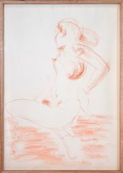 Sale 8401 - Lot 571 - Margaret Olley (1923 - 2011) - Standing Nude 58.5 x 40.5cm