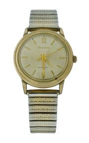 Sale 8406A - Lot 60 - Vintage Bulova automatic wristwatch in gold plated case with stainless steel back, stretch gold plated band (some wear), 33 mm, in w...