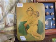 Sale 8422T - Lot 2087 - Vintage Religious Print on Tin of Mother Mary and Child