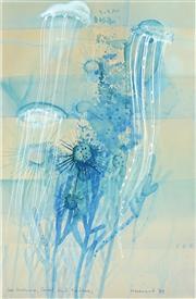 Sale 8467 - Lot 581 - Margaret Woodward (1938 - ) - Sea Urchins, Coral and Medusas, 1988 71.5 x 47cm
